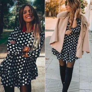 Zara Polka Dot oversized Ruffled Tunic Blouse